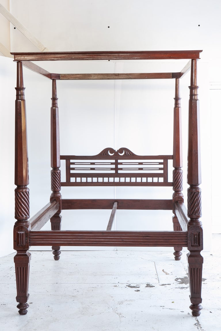 Anglo-Indian Mahogany Four-Poster Bed At 1stdibs