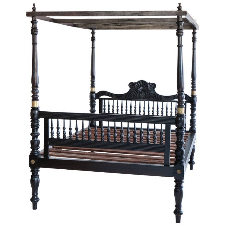 British Colonial Ebonized Teak Four Poster Bed At 1stdibs