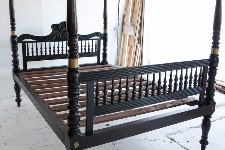 British colonial ebonized teak four poster bed for sale at for Colonial beds