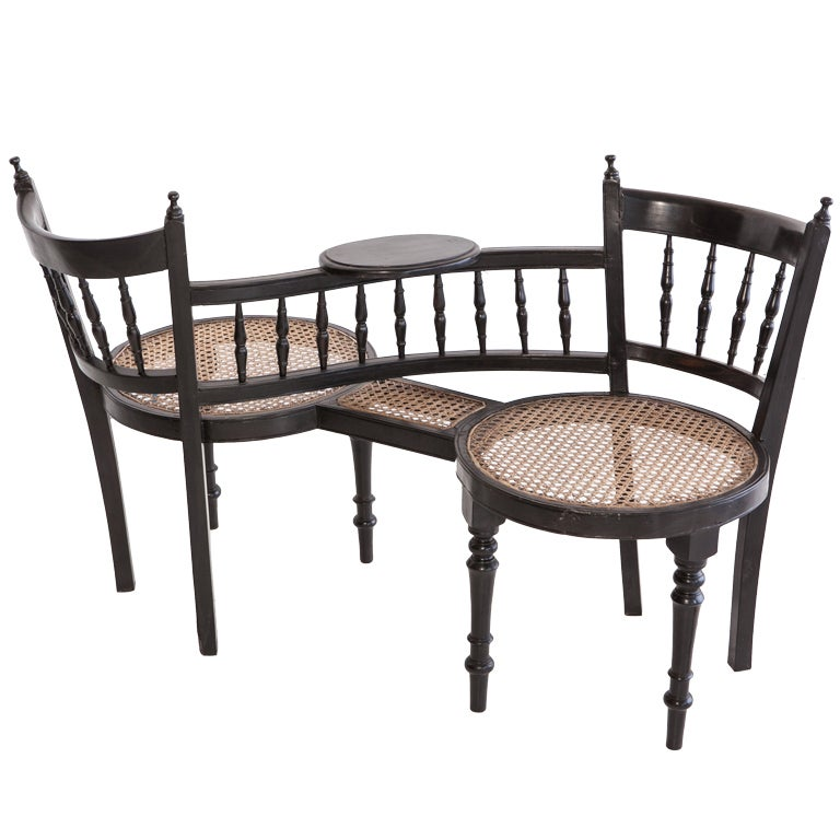 Anglo Indian Ebony Tete A Tete Chair at 1stdibs