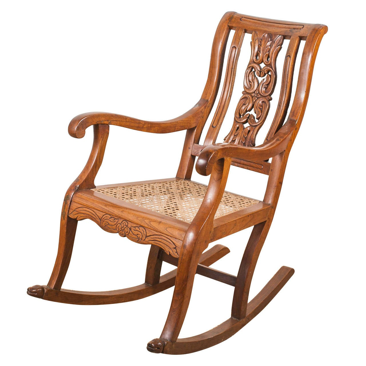 Indo-Portuguese Teak Rocking Chair With Caned Seat At 1stdibs