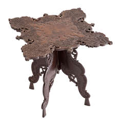 Elaborately Carved Rosewood Side Table