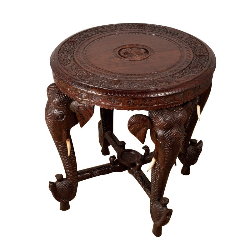 Anglo Indian Rosewood Side Table With Elephant Trunk Legs