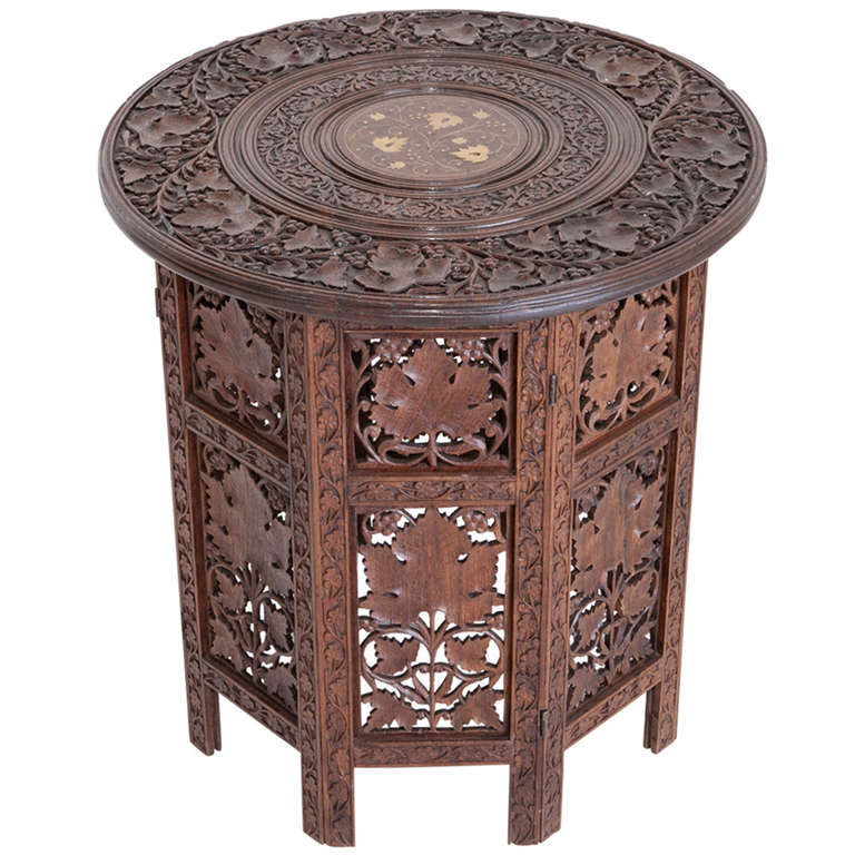 Anglo Indian Rosewood Elaborately Carved Side Table At 1stdibs