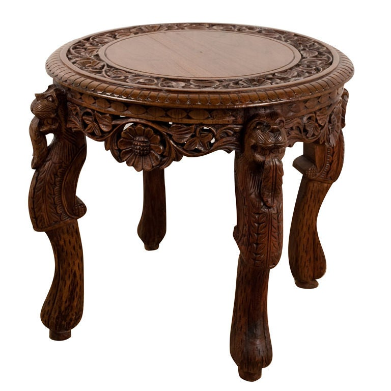 anglo indian heavily carved teak side table at 1stdibs