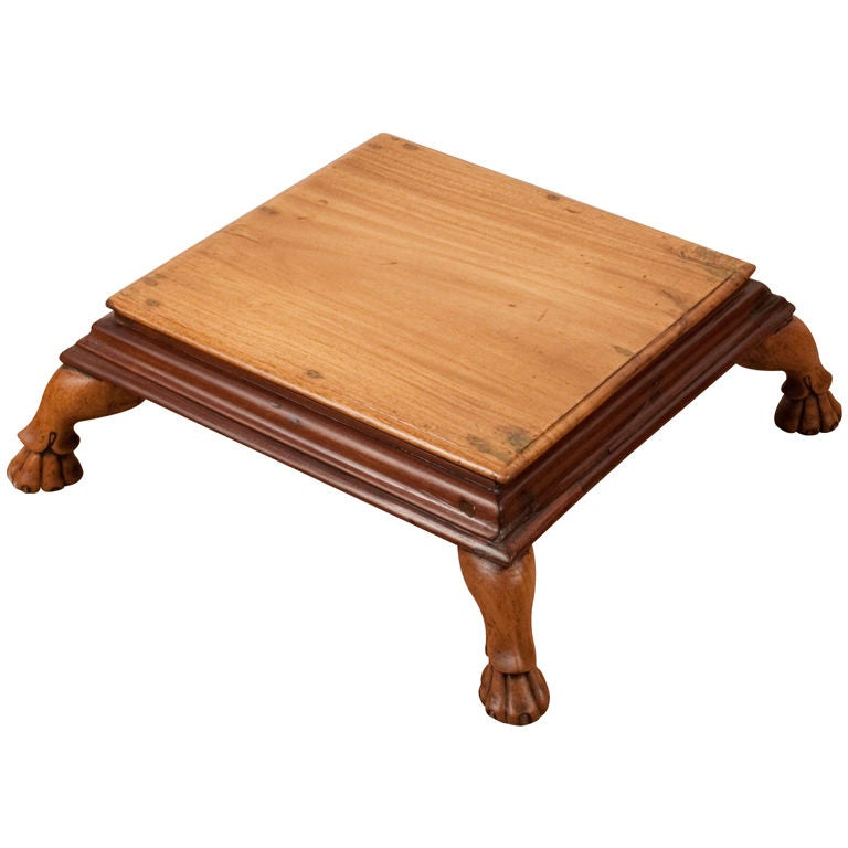 Anglo Indian Mixed Wood Footstool With Carved Feet At 1stdibs