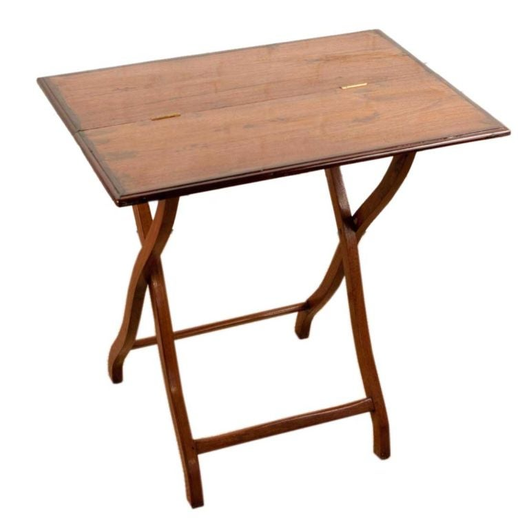Campaign Style Folding Table In Teak With Rosewood Edge At