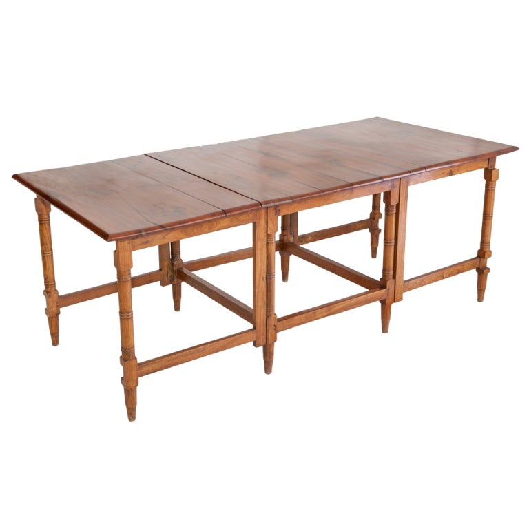 British Campaign Teak Table With Folding Extensions At 1stdibs