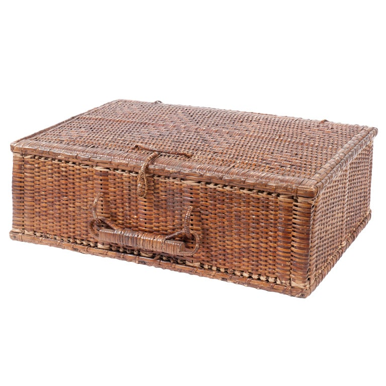 Wicker Basket With Pom Poms : Rectangular rattan basket with handle at stdibs