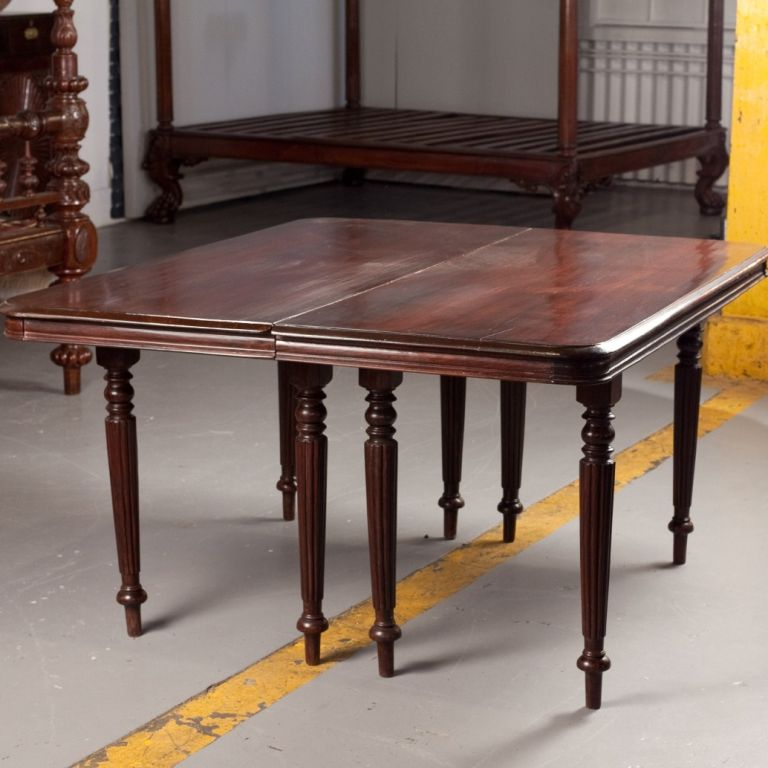 anglo indian rosewood campaign dining table in two parts at 1stdibs. Black Bedroom Furniture Sets. Home Design Ideas