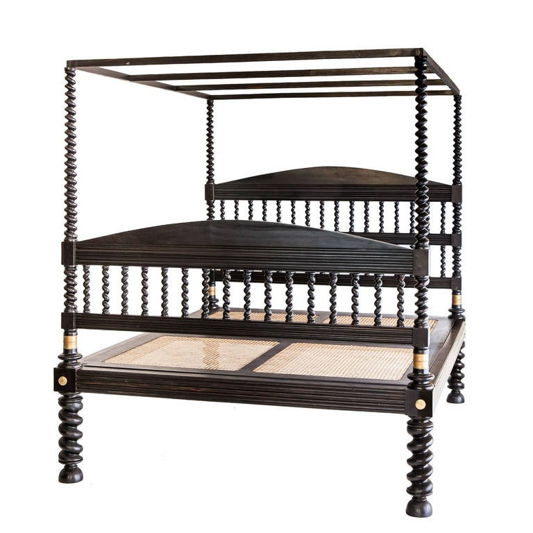 Rare Colonial Four Poster Solid Ebony Bed At 1stdibs