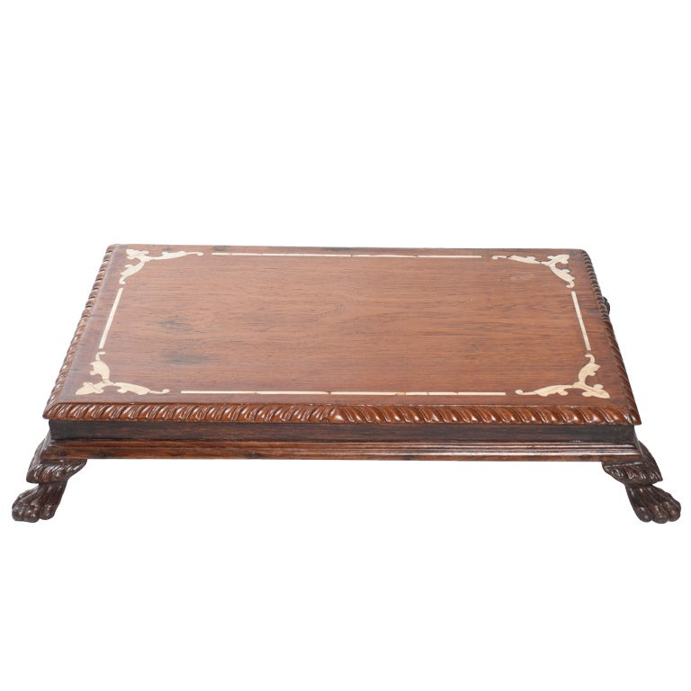 Anglo Indian Ivory Inlay Foot Stool Or Low Table At 1stdibs