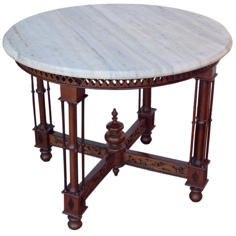 Marble Top Coffee Table India: Anglo-Indian Marble Table On Carved Base At 1stdibs