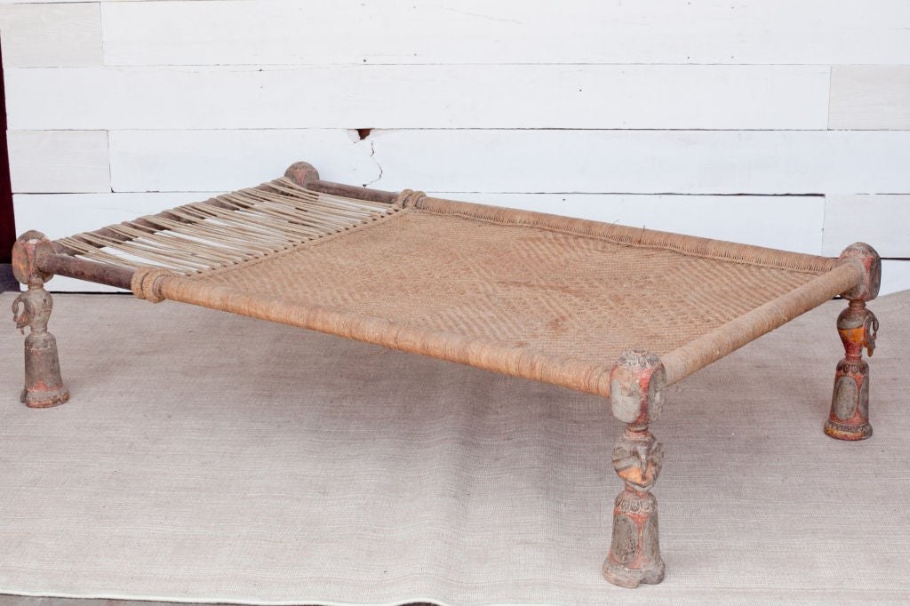 Traditional Indian Charpoy Or Daybed With Carved Peacock