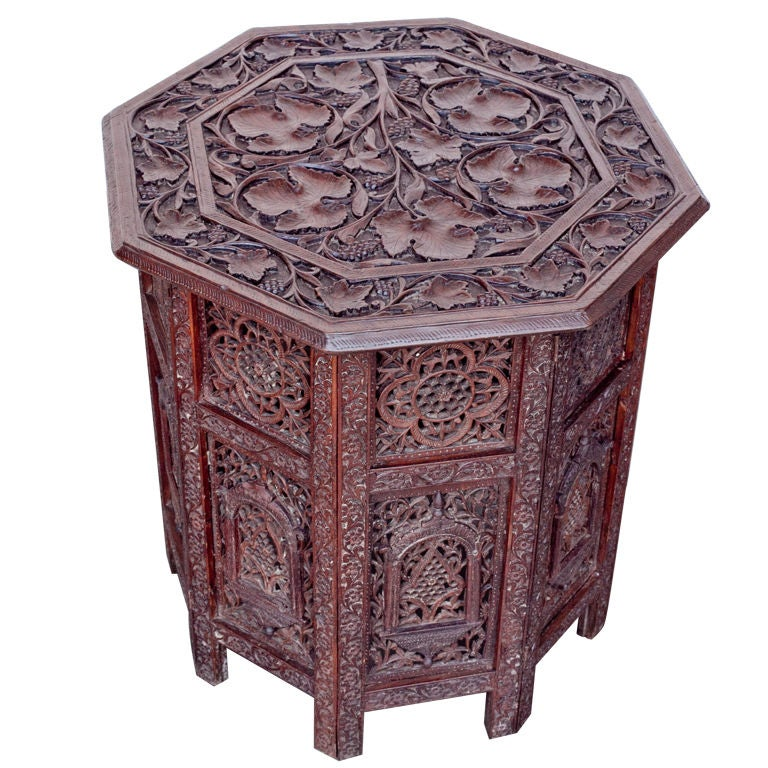 Anglo Indian Folding Table With Elaborate Carving At 1stdibs