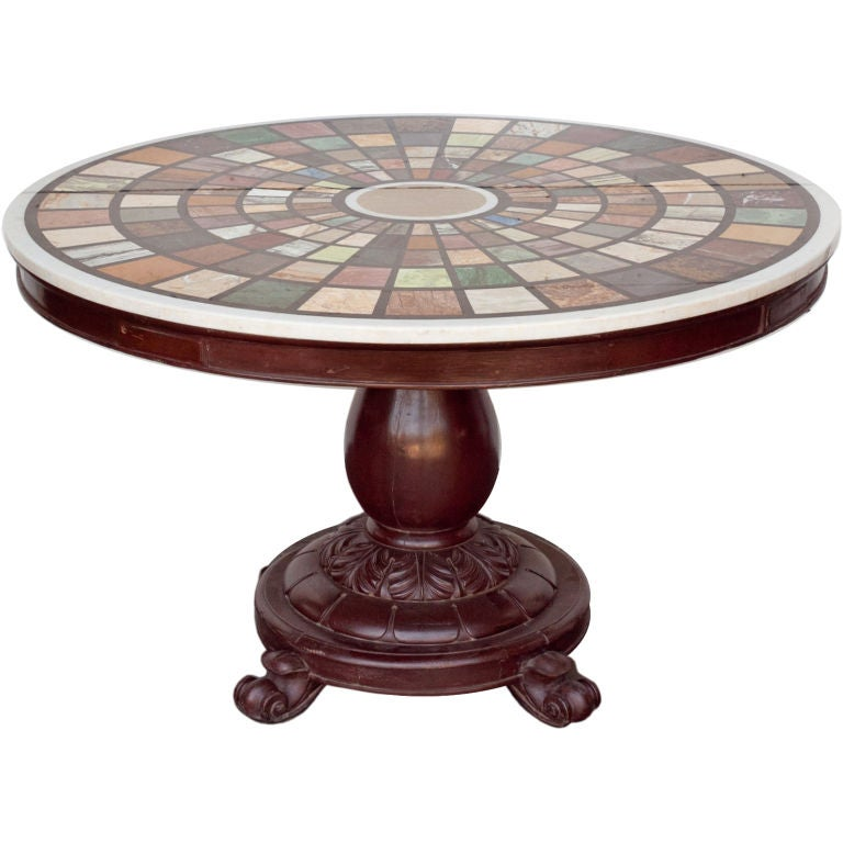 Marble Top Coffee Table India: Anglo-Indian Marble Specimen Center Table At 1stdibs