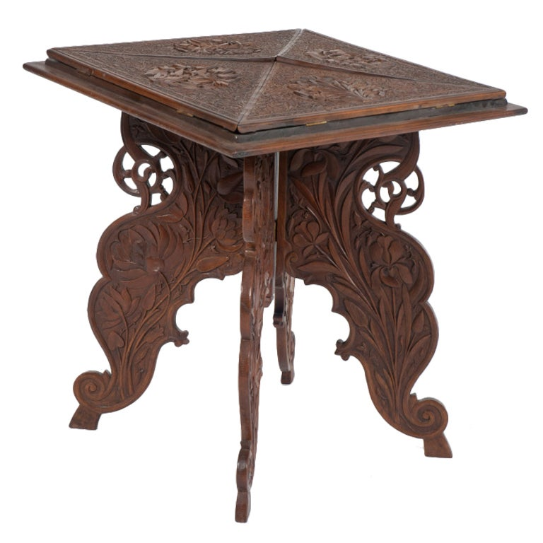 anglo indian rosewood carved folding envelope table at 1stdibs