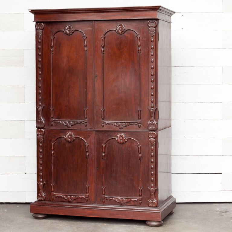 Anglo Indian Solid Mahogany Linen Press With Applied