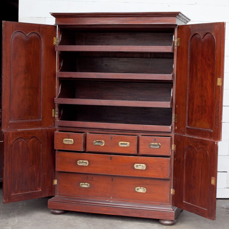 Anglo indian solid mahogany linen press with applied for Linen press