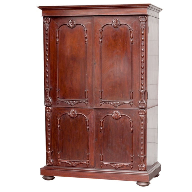 Anglo indian solid mahogany linen press with applied for Sideboard lindholm