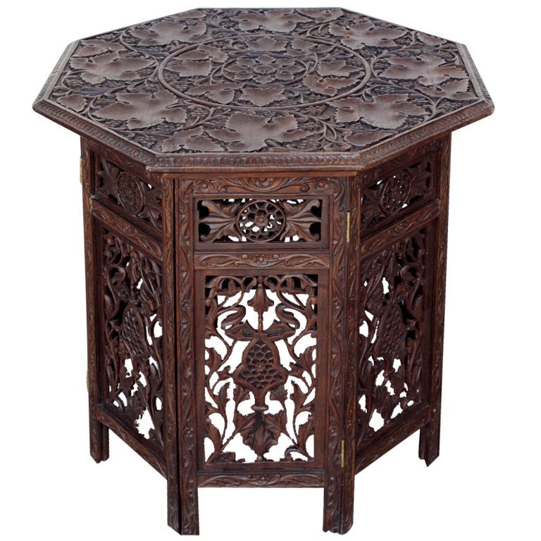 Anglo Indian Solid Rosewood Open Carved Folding Table At