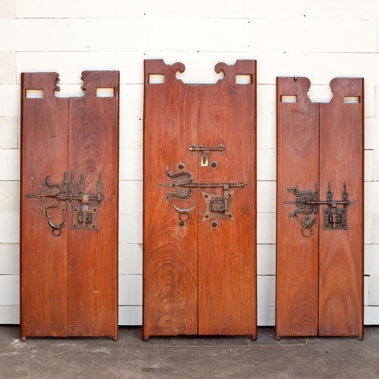 South Indian Solid Wood Doors With Brass Hardware At 1stdibs
