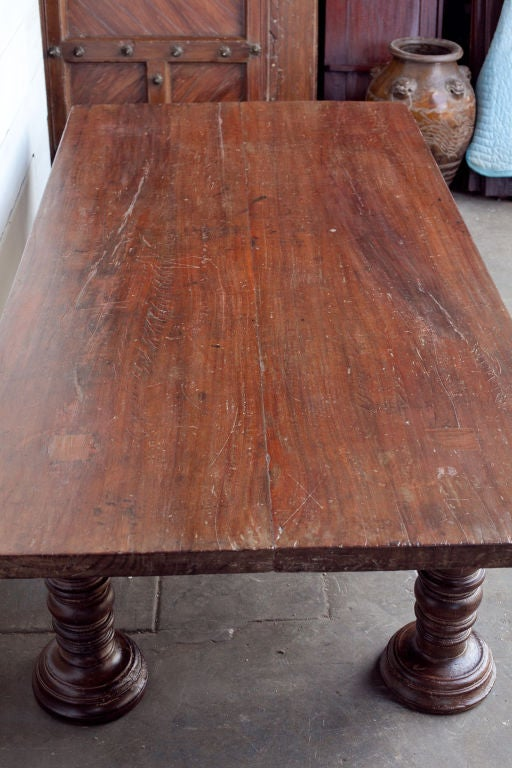 South Indian Solid Wood Low Table With Turned Legs At 1stdibs