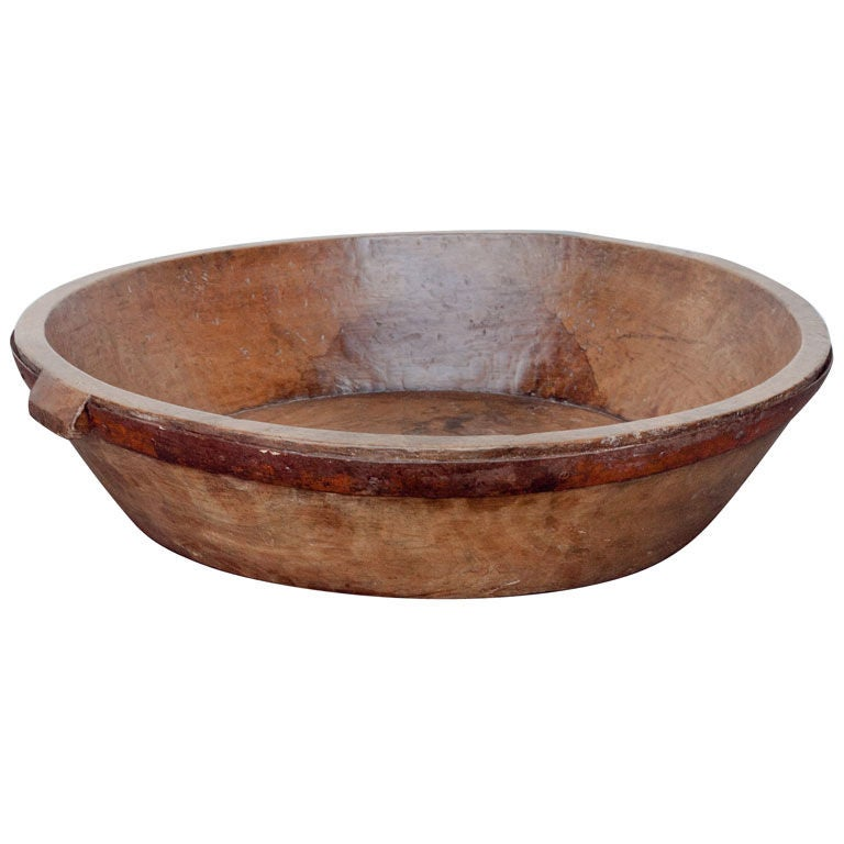 Wooden Dining Bowls ~ Large hand carved wooden bowl with iron ring at stdibs