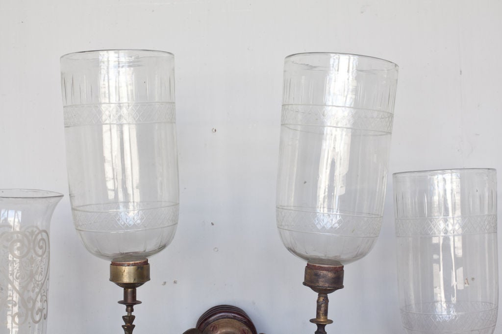 Anglo-Indian Double Hurricane Wall Sconces For Sale at 1stdibs