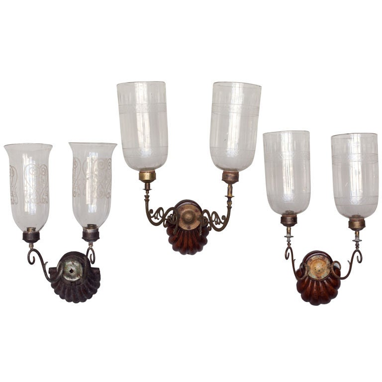 Wall Sconces With Hurricane Lamps : Anglo-Indian Double Hurricane Wall Sconces at 1stdibs