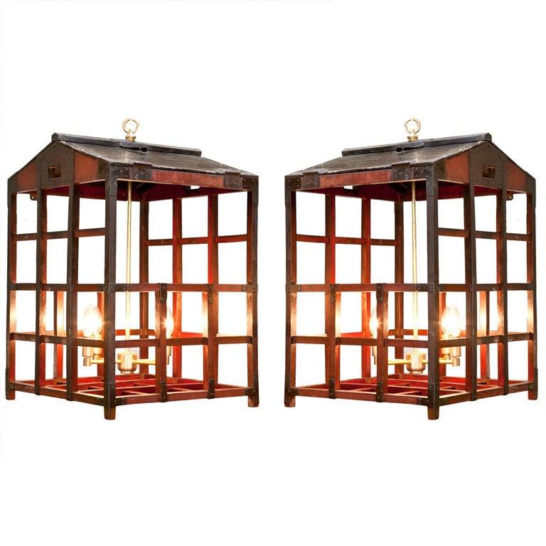 Pair of vintage japanese peddlers cage as chandeliers at 1stdibs - Peddlers home design ...