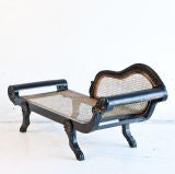 Dutch-Colonial Ebony Chaise/Recamier with Caning image 5