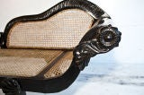 Dutch-Colonial Ebony Chaise/Recamier with Caning image 7