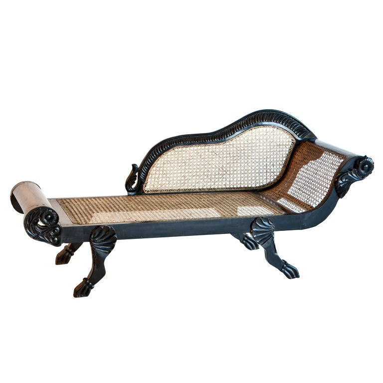 Dutch-Colonial Ebony Chaise/Recamier with Caning