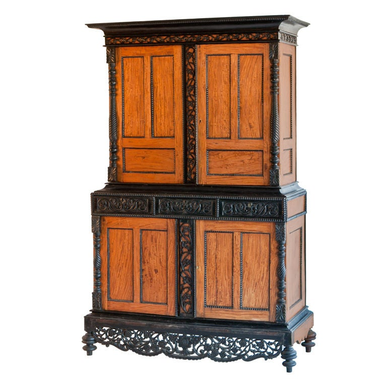 dutch colonial satinwood armoire with ebony trim at 1stdibs. Black Bedroom Furniture Sets. Home Design Ideas