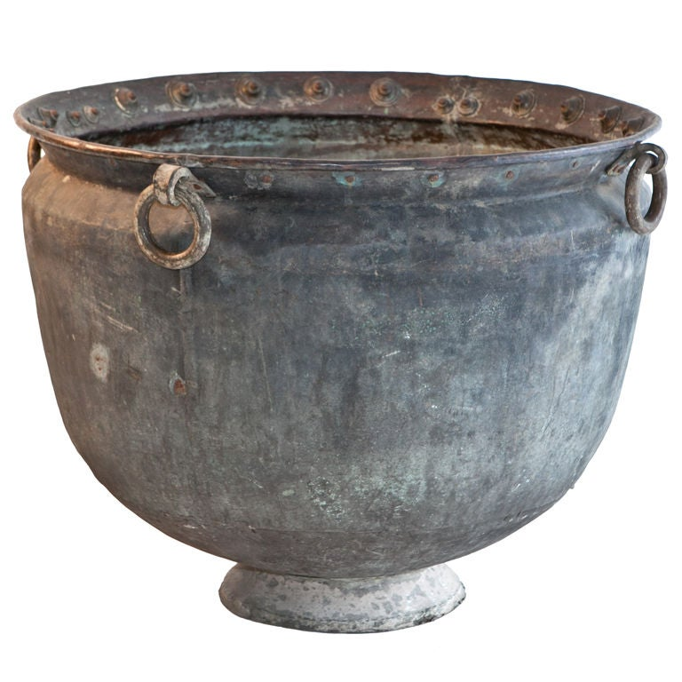 Extremely Large Solid Copper And Brass Water Pot From