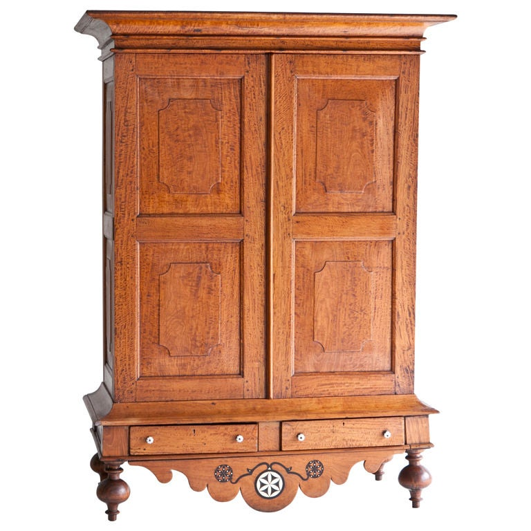 dutch colonial satinwood armoire with ebony details at 1stdibs. Black Bedroom Furniture Sets. Home Design Ideas