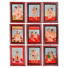 Set of 9 Kama Sutra Paintings on Glass