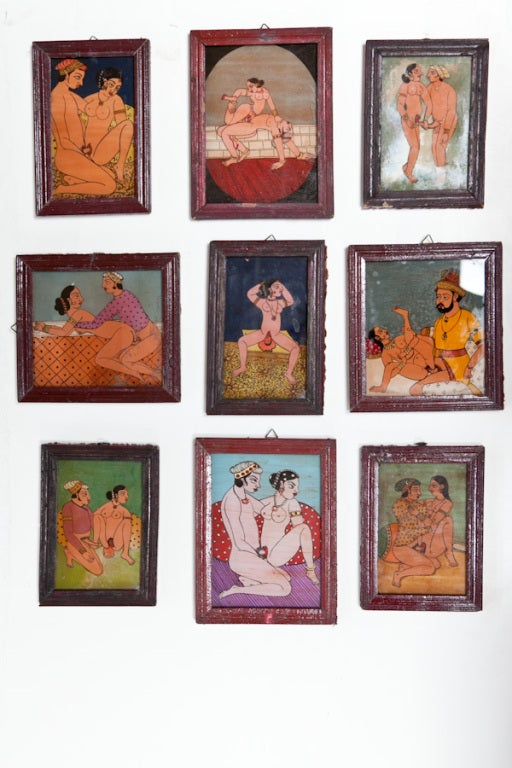 Set of 9 Kama Sutra Reverse Glass Paintings at 1stdibs