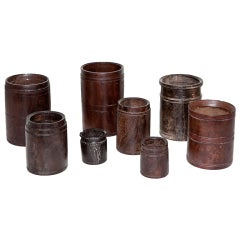 Set of Eight Hardwood Indian Rice Measures