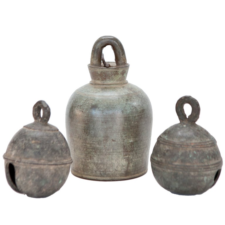 Set Of Three Cambodian Bronze Bells At 1stdibs