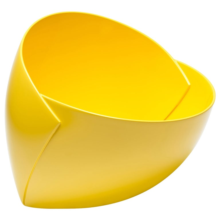 Yellow Origami Bowl by Ann Van Hoey For Sale