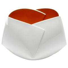 Orange and White Origami Vessel by Ann Van Hoey
