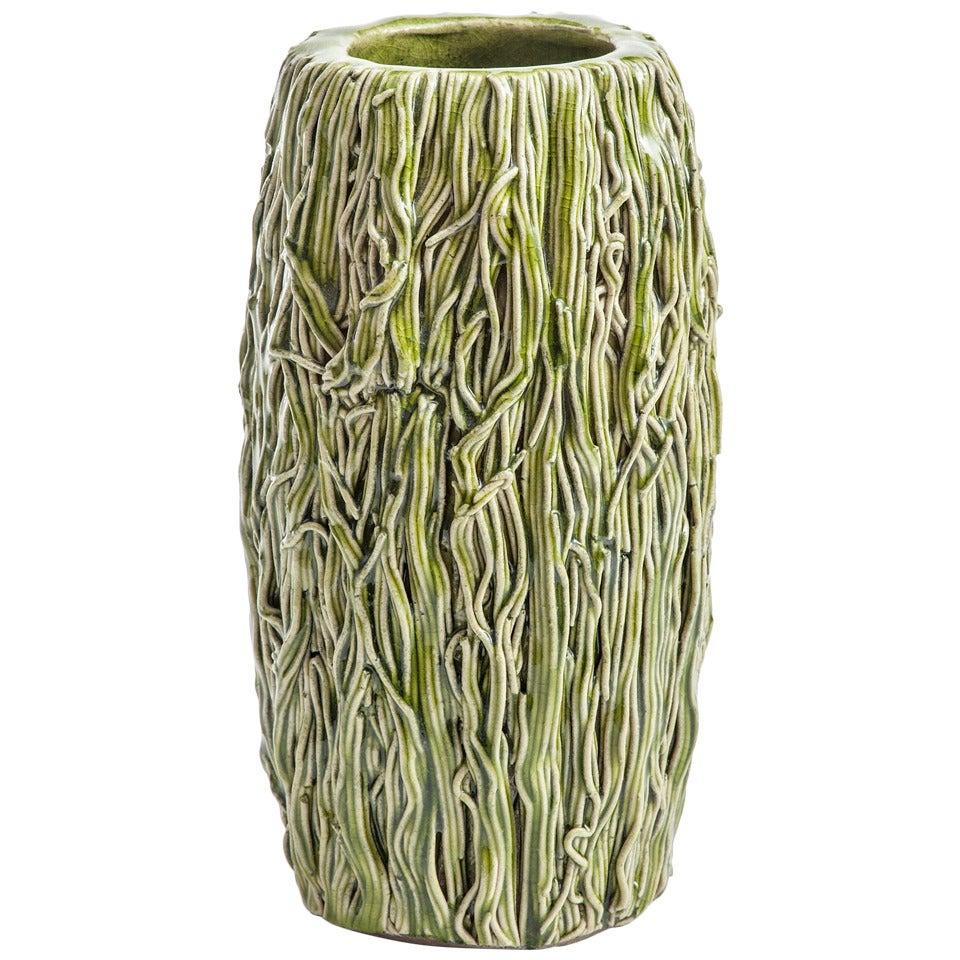 Green Pottery Vase by Lone Skov Madsen