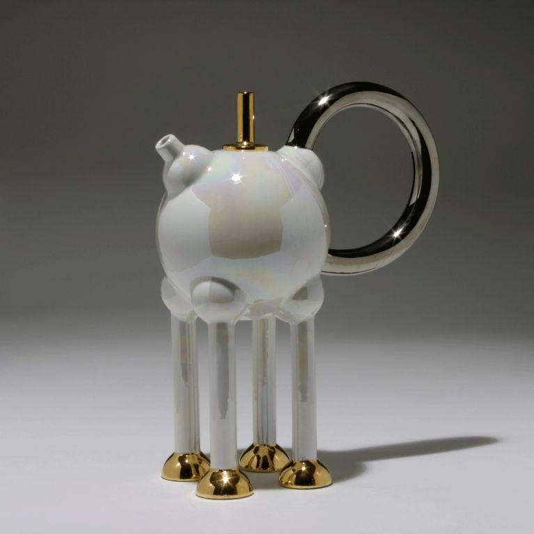"Tea Pot ""Columbina Superba""  Designed for Alessio Sarri, Sesto Fiorentino  Printed to underside ""MTH 020"".  Literature: Barbara Radice, Memphis, Munich, 1988, p. 165 (for another example)."