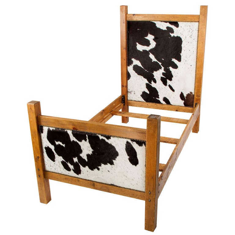 Black and white cowhide twin bed frame at 1stdibs for Black twin bed frame