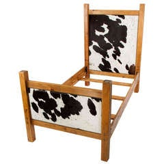 Black and White Cowhide Twin Bed Frame