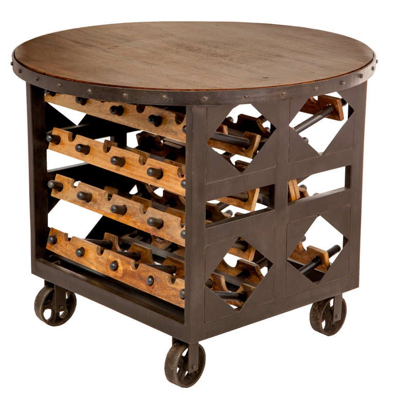 Hand-Forged Wine Table In Good Condition For Sale In Asheville, NC