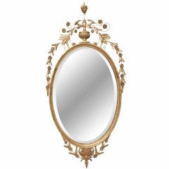 Beveled Oval Gold Mirror