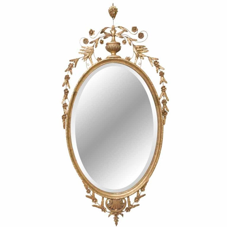 Beveled oval gold mirror at stdibs